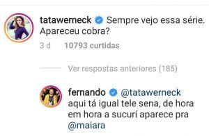 Fernando Zor brinca sobre momento íntimo com Maiara ao responder Tatá Werneck