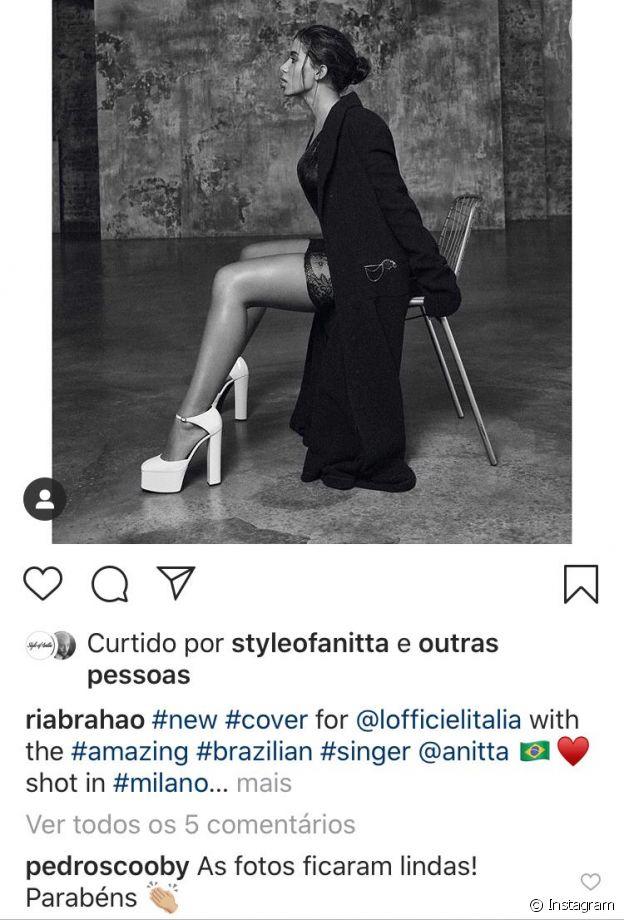 Anitta ganha elogio de Pedro Scooby em fotos de revista
