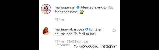 Marina Ruy Barbosa mostra torcida por Manu Gavassi