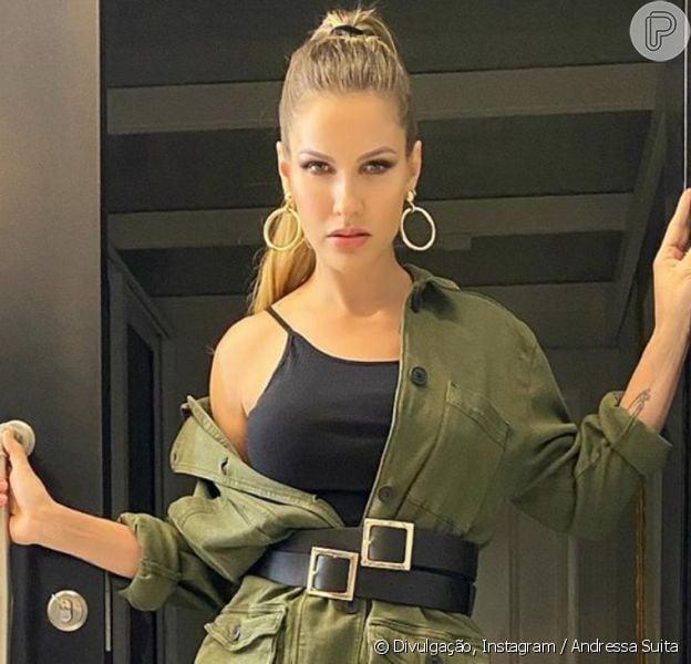Andressa Suita aposta em look com parca verde militar para nova live de Gusttavo Lima, em 11 de abril de 2020