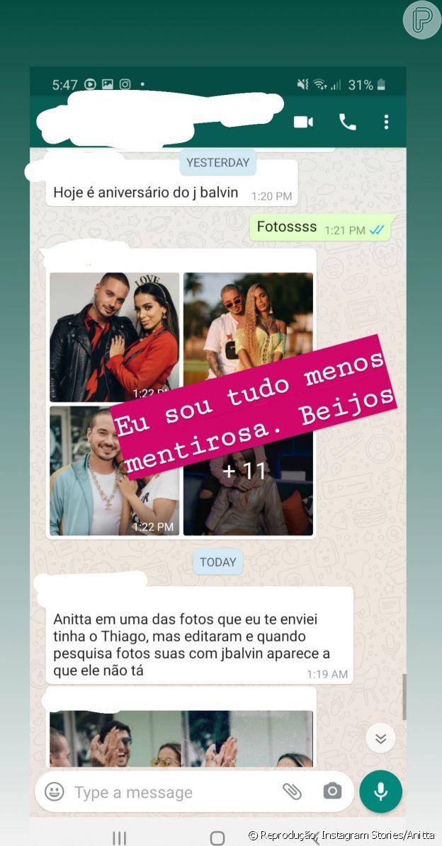 Anitta mostra print de conversa negando ter editado fotos para tirar o ex-marido