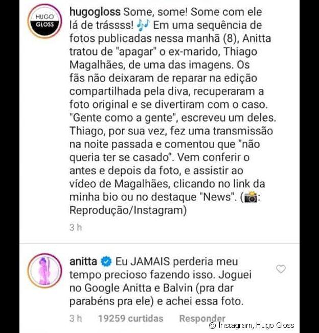 Anitta nega ter editado foto para tirar ex-marido