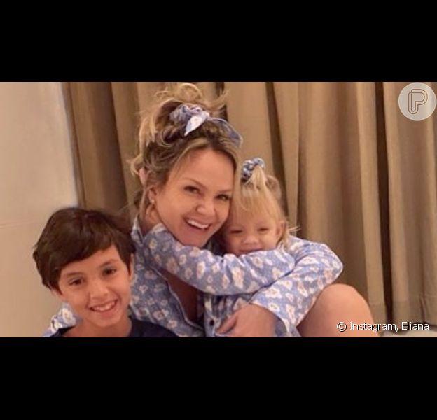 Eliana, sem make, combinou pijama com os filhos ao terminar período de isolamento após contrair o novo coronavírus
