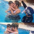 Marília Mendonça usa body e short em aula de natação do filho