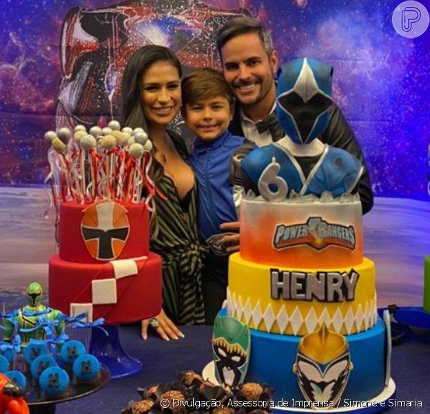 Filho de Simone e Kaká Diniz ganha festa com tema Power Rangers
