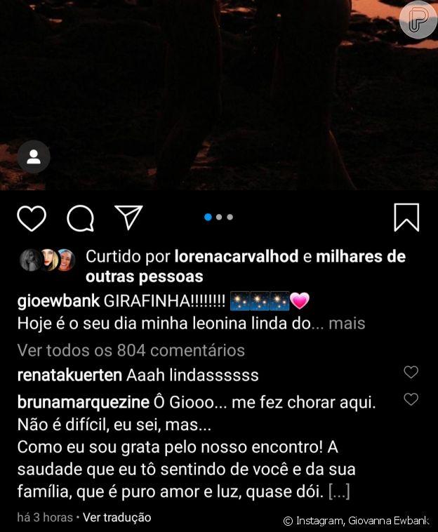 Bruna Marquezine reage emocionada à post de Giovanna Ewbank