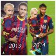 Essa não é a primeira vez que Neymar leva o filho, Davi Lucca, para o campo. Os fãs do atleta fizeram uma montagem dos dois em campo em 2013 e em 2014