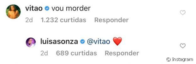 Vitão reage a foto de Luísa Sonza de biquíni fio-dental