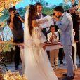 Vestido de noiva do casamento de Carol Nakamura foi desenhado pela designer Natasha Katherine