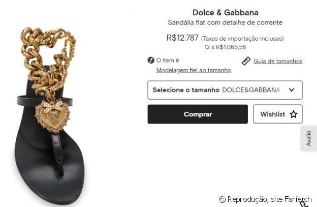 A sandália usada por Anitta é da grife Dolce & Gabbana