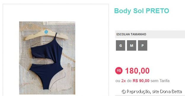 Maiô usado por Sophia Valverde custa R$ 180