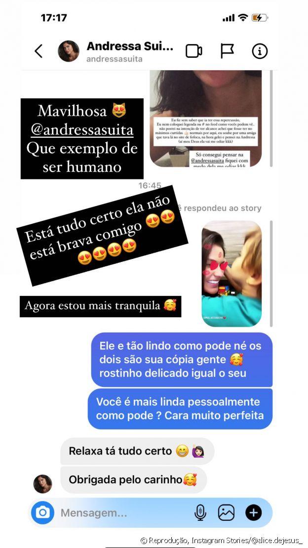 Andressa Suita conversa com fã no Instagram