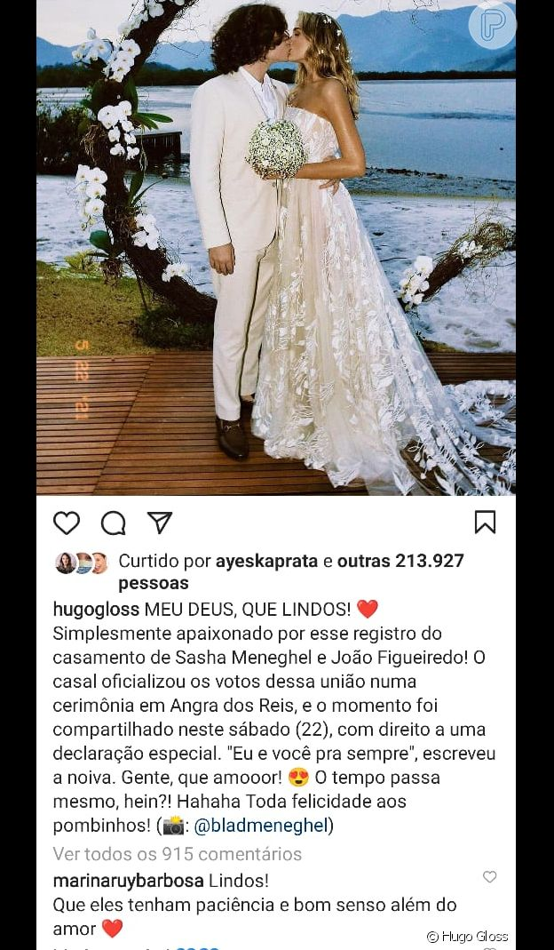 Comentário de Marina Ruy Barbosa sobre casamento de Sasha Meneghel divide a web
