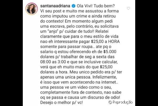 Adriana Sant'Anna rebate comentário