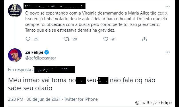 Zé Felipe se irrita com seguidor após internauta julgar Virgínia por parar de amamentar