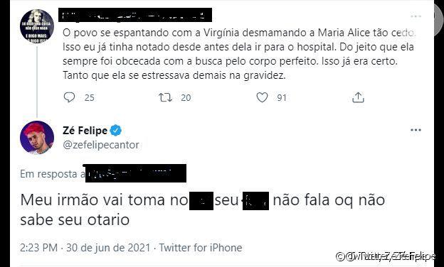 Discussão entre Zé Felipe e usuário do Twitter que criticou sua esposa, Virgínia Fonseca