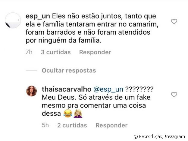 Thaisa Carvalho, apontada como namorada de Fiuk, nega que tenha sido barrada em camarim do ator