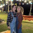 Sasha Meneghel e o marido, João Figueiredo, usaram looks típicos em festa junina
