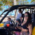 Andressa Suita voltou de viagem à Bahia com os filhos nesta terça-feira (17) e postou vídeo fazendo carinho no rosto de Gusttavo Lima
