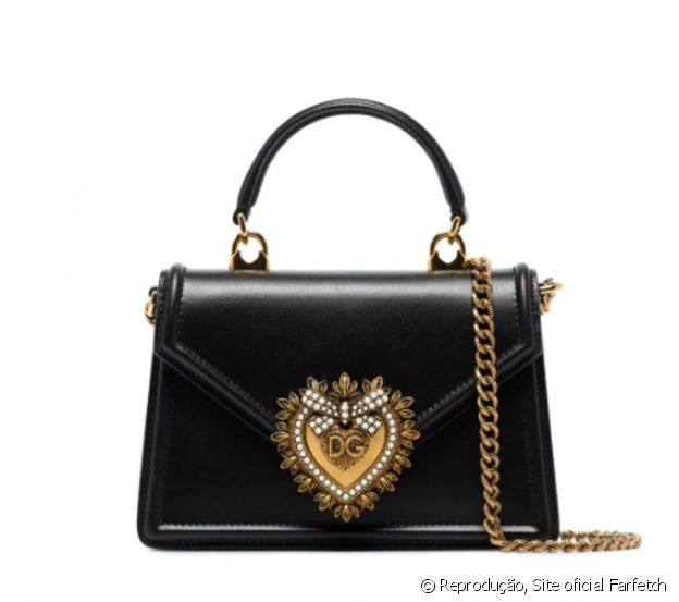 Maria Lina Deggan usou bolsa tote devotion mini preta de couro, Dolce & Gabbana