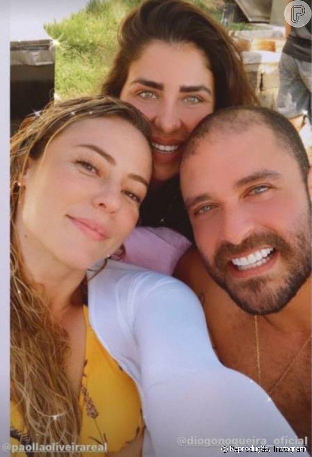 Chef Monique Gabiatti publicou foto ao lado de Paolla Oliveira e Diogo Nogueira