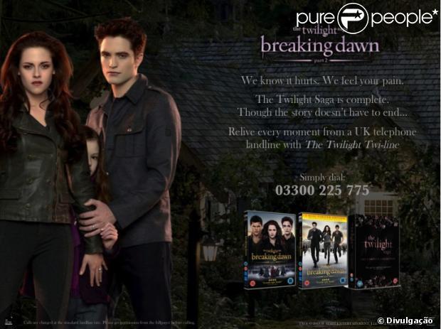 Imagem que foi publicada na fanpage do filme 'Amanhecer - Parte 2', no Reino Unido, em que anuncia o serviço de chamadas para os fãs