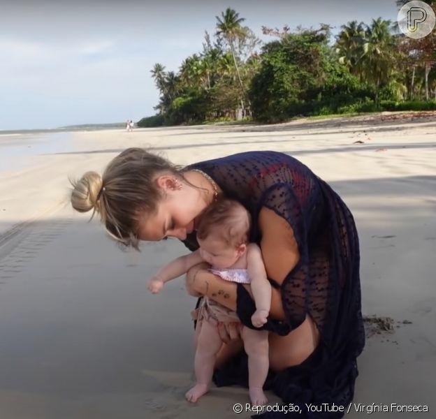 Virgínia Fonseca leva filha para a praia pela primeira vez
