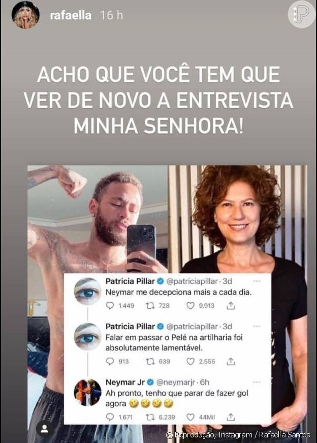 Rafaella Santos defendeu o irmão, Neymar, em briga com a atriz Patricia Pillar