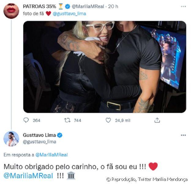 Gusttavo Lima responde Marilia Mendonça: 'O fã sou eu'
