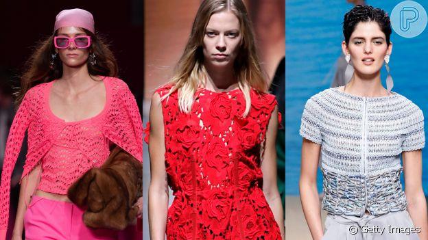 Crochê, tricô e renda aparecem com destaque na Moda de Milão
