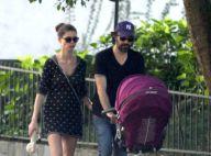 Alinne Moraes passeia com o filho e o marido em tarde de sol no Rio de Janeiro