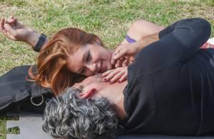 Marina Ruy Barbosa e Alexandre Nero gravam cena de 'Império' em parque no Rio