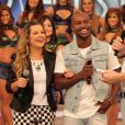Fernanda Souza e Thiaguinho falam sobre relacionamento no programa 'Domingão do Faustão', da TV Globo, em 24 de março de 2013