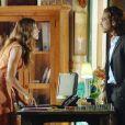 Ester (Grazi Massafera) pede o divócio, mas Alberto (Igor Rickli) finge não ouvir, em 'Flor do Caribe', em 16 de abril de 2013