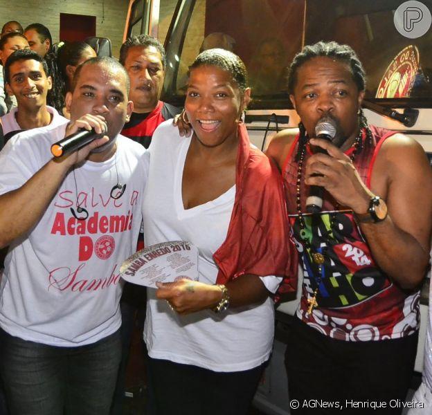 Cantora norte-americana Queen Latifah participa de ensaio de rua do Salgueiro, no Rio de Janeiro, em 28 de janeiro de 2015