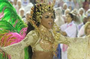 Rainha da Mangueira desfila com maquiagem de ouro avaliada em R$ 15 mil
