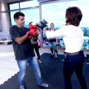 Fátima Bernardes brinca de praticar muay thai com Lair Rennó no 'Encontro'