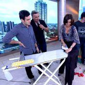 Fátima Bernardes passa roupa no 'Encontro' e diz que trigêmeos ajudam em casa