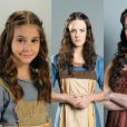 Isabella Koppel, Ariela Massoti e Larissa Maciel em três fases diferentes como Miriã na novela 'Os Dez Mandamentos'
