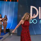 Maitê Proença escorrega no palco do 'Domingão do Faustão', mas mantém a pose