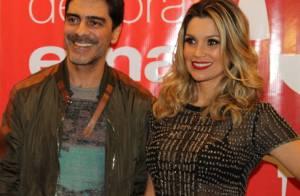 Flávia Alessandra e Junno Andrade prestigiam evento de decoração em São Paulo