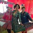 Fátima Bernardes fez chiquinhas e apostou em um vestido longo xadrez para arraiá do 'Encontro'