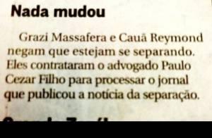 Grazi Massafera nega separação de Cauã Reymond: 'Não teria nada a esconder'