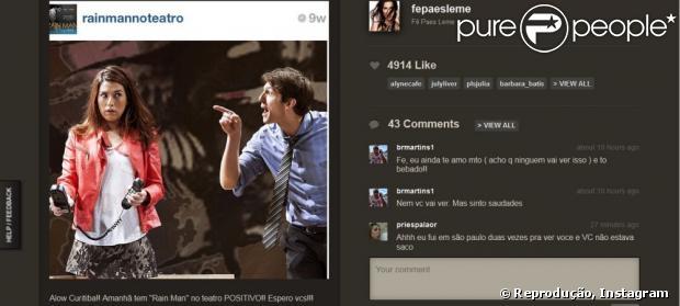 Fernanda Paes Leme recebeu uma declaração de amor do ex-namorado, Bruno Martins, em sua conta do Instagram, em 15 de junho de 2013: 'Ainda te amo'