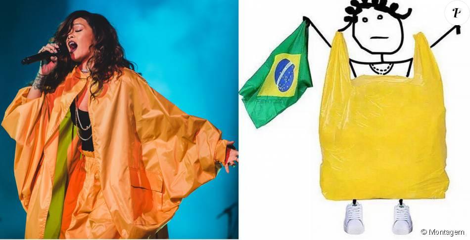 Rihanna ironizou seu look amarelo usado no Rock in Rio com foto de um saco plástico