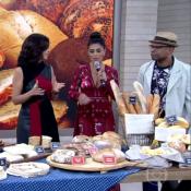 Juliana Paes prova pães no 'Encontro' e brinca: 'Não consigo me comportar'