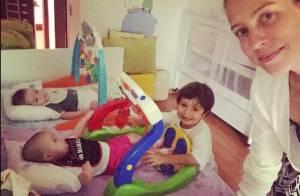 Luana Piovani conta com cinco babás para cuidar dos três filhos, Dom, Liz e Bem
