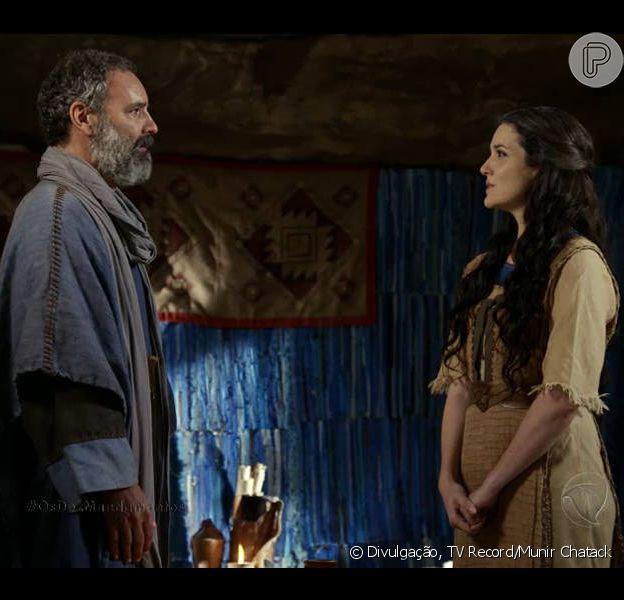 Miriã (Larissa Maciel) repensa e aceita se casar com Hur (Floriano Peixoto), na novela 'Os Dez Mandamentos - Nova Temporada', a partir de 9 de maio de 2016