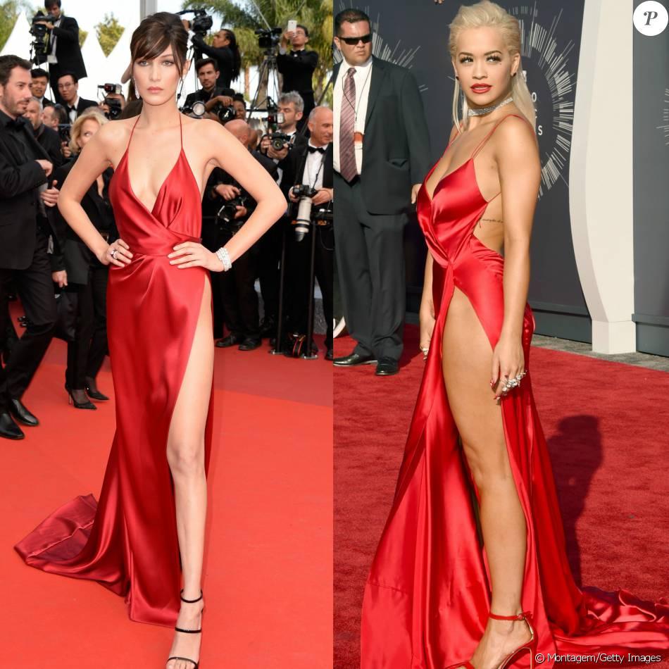 Bella Hadid repetiu o vestido da grife Alexandre Vauthier em Cannes já usado por Rita Ora dois anos atrás no VMA 2014