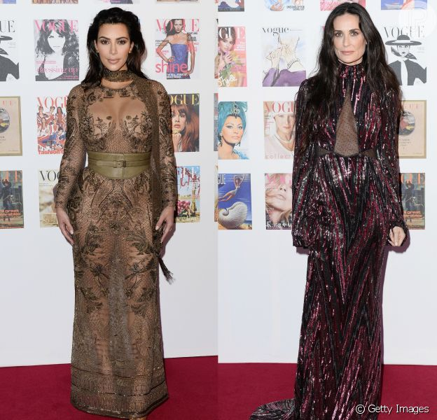Kim Kardashian e Demi Moore apostaram em transparência para ir ao festival Vogue 100, em Londres, na Inglaterra, nesta segunda-feira, 23 de maio de 2016